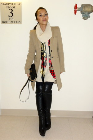 calvin kl boots - Forever 21 dress - Zara coat - DIY scarf - Marc Jacobs bag