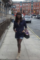 navy vintage blazer - beige Zara boots - navy LV bag - light blue H&M shorts