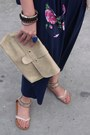 Pink-dress-beige-purse-navy-kimono-style-cardigan-beige-beaded-sandals-w