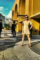 nude dress up dress - Michael Kors sunglasses - ruby red korean brand pumps - Fo