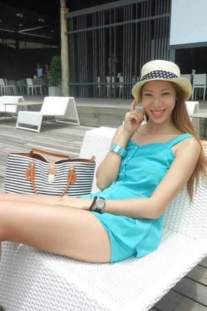 beige Forever 21 hat - dark gray bangkok brand bag