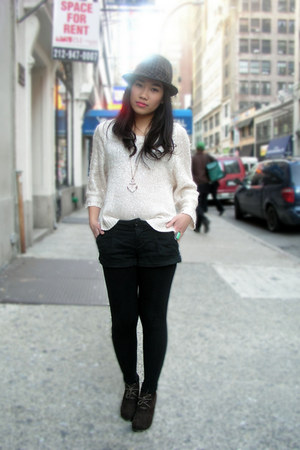 Bamboo boots - H&M sweater - Forever 21 shorts