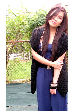 black Forever 21 cardigan - blue Forever 21 romper - black H&M bracelet