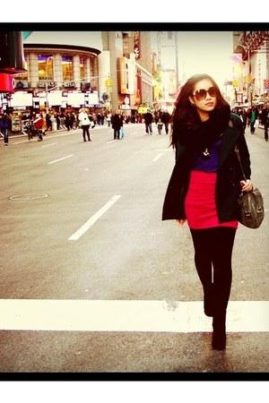 black Priori boots - black Forever 21 scarf - hot pink Forever 21 skirt