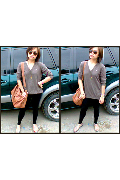 brown brown Thrift Store bag - black Penshoppe leggings