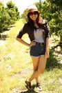 Brown-forever-21-jacket-gray-zara-top-blue-gap-shorts