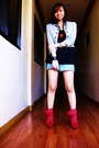 Gray-blazer-black-forever-21-top-red-from-ebay-boots-blue-thrifted-shorts-