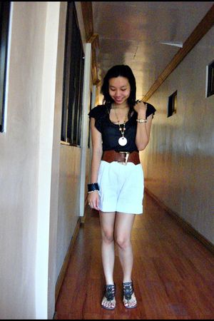 black Charlotte Russe top - brown belt - white shorts - brown shoes