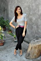 gray Zara top - black Glitterati pants - gray Charles and Keith shoes
