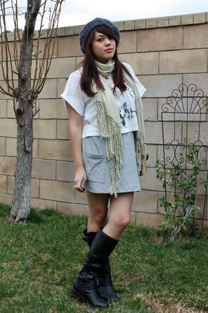 black Journey boots - charcoal gray Forever 21 hat - lime green Gypsy 05 scarf -
