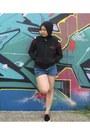 Blue-topshop-shorts-black-vanz-sneakers-black-converse-hoodie