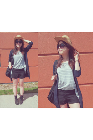navy H&M cardigan - black Charlotte Russe shorts - heather gray H&M top