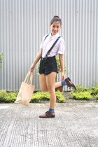 dark brown giordano shoes - black Forever 21 shorts - light pink Mossimo top