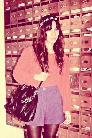 black bvlgari bag - magenta Forever21 shorts - red Zara top