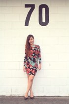 carrot orange Topshop Body Con Floral dress