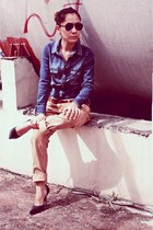 Zara denim top - rayban sunglasses - boyfriend pants