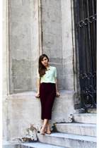 lime green HK top - maroon Culottes pants