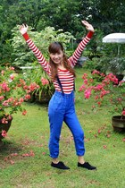 blue Zara pants - black Forever21 shoes - ruby red basic top