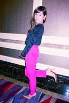hot pink Zara pants - black random brand blazer - nude Janylin heels