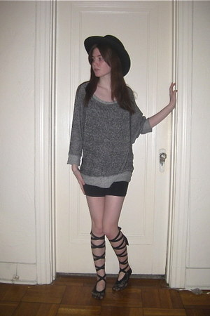 black Nasty Gal hat - charcoal gray Phanuel sweater - black American Apparel sho