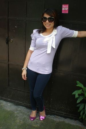 purple Pink Manila blouse - Lee jeans - pink cotton on shoes - black Forever 21
