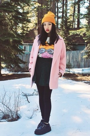pink peacoat coat - creepers TUK shoes - Chicwish skirt