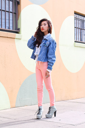 denim jacket thrifted jacket - chicnova pants