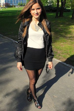 pink top - black skirt - black tights - black shoes