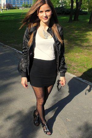 pink top - black skirt - black tights - black shoes