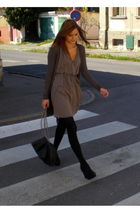 black new look shoes - gray H&M dress - gray cardigan