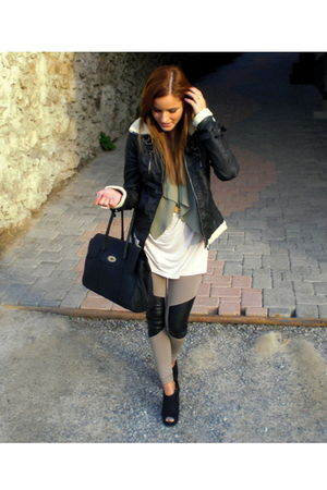 black Bershka jacket - black Stradivarius bag - black new look shoes - beige H&M