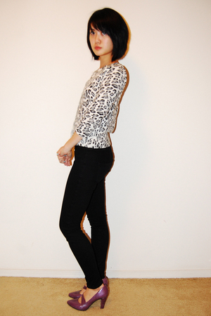 white Forever 21 cardigan - black Blank Denim jeans - purple Aldo shoes