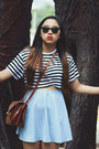 White-striped-crop-forever-21-shirt-tawny-thrifted-bag