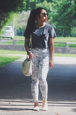 gray American Apparel t-shirt - white floral print H&M pants