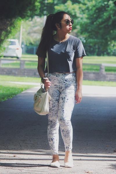 gray American Apparel t-shirt - white floral print H&M pants