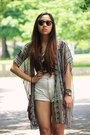 Ivory-high-waisted-forever-21-shorts-gray-vintage-ray-ban-sunglasses