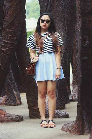 white striped crop H&M shirt - tawny thrifted bag