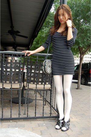 black thrifted dress - white Urban Outfitters leggings - black Vintage Gucci pur
