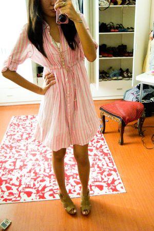 pink Zara dress - beige shoes