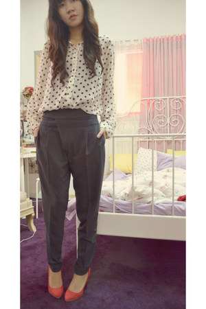 white polka dots Topshop shirt - navy Zara pants - ruby red suede Zara heels