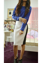 white black and white Zara skirt - blue Redtag sweater