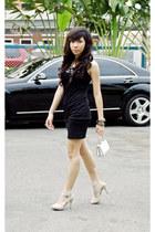 heels - dress - bag - accessories