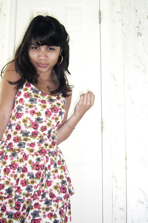 Kimchi Blue from Urban Outfitters dress - earrings - necklace - Mignon Faget bra