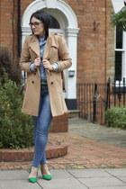 heels - coat - jeans - shirt
