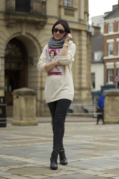 H&M scarf - Topshop jeans - H&M jumper