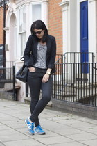 Zara jacket - Topshop jeans - Zara t-shirt - adidas sneakers