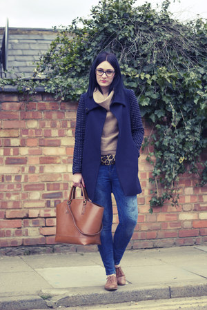 Zara coat - Topshop shoes - Zara jeans - Topshop jumper