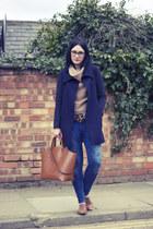 Zara coat - Topshop shoes - Zara jeans - Topshop jumper