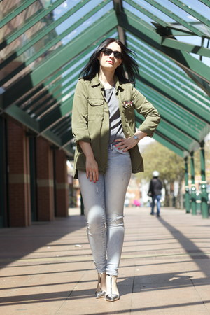 Zara jeans - Zara jacket - Zara heels - Topshop t-shirt