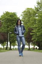 Zara jeans - pull&bear jacket - Topshop shirt - adidas sneakers